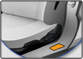 grayscale image of a car's doorjamb with an orange rectangle highlighted in orange.